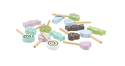 Kids Concept- Süßigkeiten Candy Holzspielzeug Lollys Sweets- 15teilig pastell, Mehrfarbig