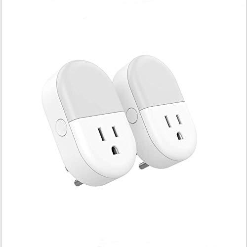 2 En 1 Enchufe WiFi Conectado Inteligente [Socket + Luz De Noche], WiFi Nightlight Kid Lámpara LED De Noche Enchufe De Pared con Amazon Alexa Control