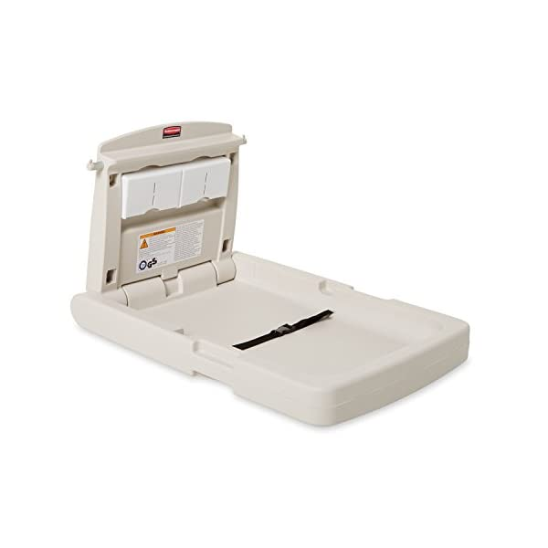 Rubbermaid Commercial Baby Changing Station - Platinum Rubbermaid Commercial Products Antimicrobial protection Two models: Vertical or horizontal Large, deep bed with adjustable safety belt 1
