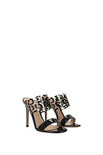 G1374015RICVPXNELE Gianvito Rossi Sandale Femme Cuir Verni Noir Noir