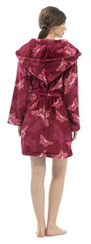 Foxbury Femme Papillon Shimmer Peignoir de bain Peignoir à Capuche Polaire Rouge - Rouge