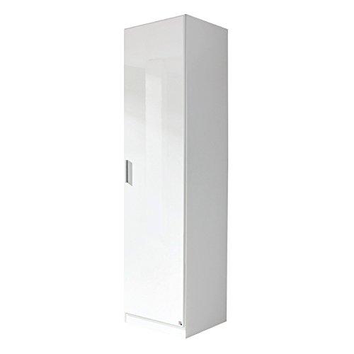 Kleiderschrank / Garderobenschrank CELLE Breite 47 cm ( schmal, klein, 1 Person), Hochglanz weiß,...