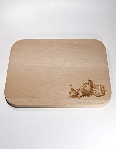 Schneidebrett für Zwiebeln & Knoblauch aus europäischen Buchenholz (31x21cm)