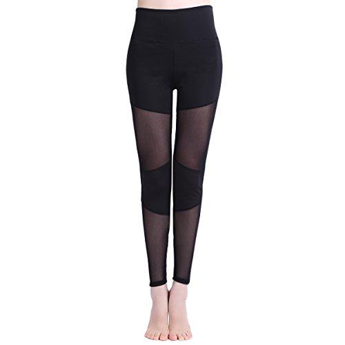 iEFiEL Damen Leggings lang Hose lang Mesh Leggins Mesh Pants Skinny schwarz Leggins leicht transparent Schwarz M