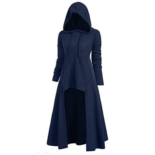 Kostüm Original D'halloween - serliyDamen Vintage Gothic Mantel Kostüme Punk Hooded Pullover,Damenmode mit Kapuze Plus Size Vintage Mantel High Low Sweater Bluse Tops