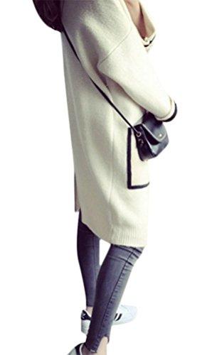 MILEEO Femme pulls Manteau longue gilet en tricoté cardigan large à manches longues Beige
