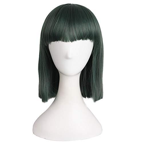 Grünen Gemischten Kostüm - AYUOP Cosplay Perücke Kurze Gerade Perücken Für Frauen Kostüm Party Gemischt Grüne Hitzebeständige Natürliche Synthetische Haarteile