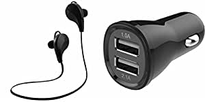 MIRZA Bluetooth Headset & Car Charger for PANASONIC ELUGA A (Jogger Headset|| Sports Headset|| Wire less Earphone||Bluetooth Headphone || Exercise Headset || Gym Headset || Audio Splitter|| With Mic ||Car Charger ||Mobile Charger)