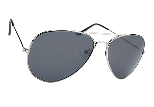 Damen Herren Pilot Sonnenbrille Polarisiert Spiegelglas + Abdeckung für Gläser Mirrored UV400 Romens Ltd (Black Silver Frame)