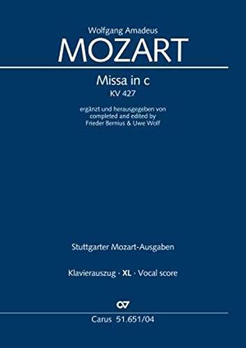 Missa in c (Klavierauszug XL): ergänzt und herausgegeben von Frieder Bernius & Uwe Wolf KV 427