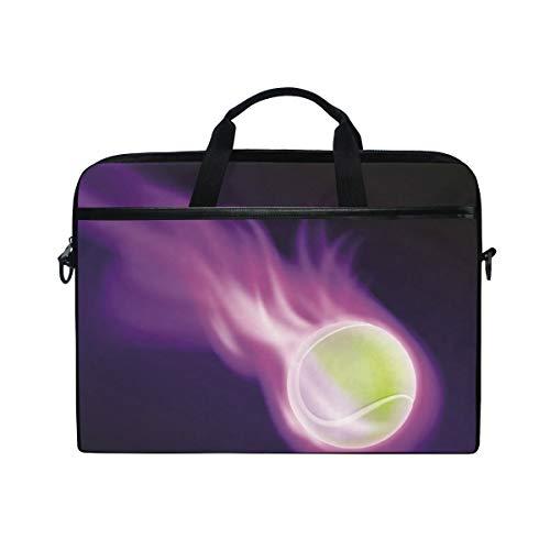 Ahomy Laptop-Tasche, 38,1-39,62 cm (15-15,4 Zoll) Tenni Ball auf Purple Fire Canvas Stoff Laptop Tasche Bussiness Handtasche mit Schultergurt für Damen und Herren