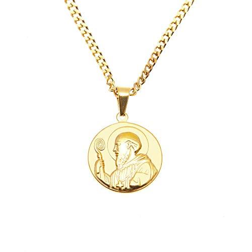ZUXIANWANG Halskette mit Goldener Farbe Edelstahl Halskette für Männer Frauen St. Benedikt Mann Anhänger Kette Halsketten & Anhänger Hip Hop Mode Schmuck
