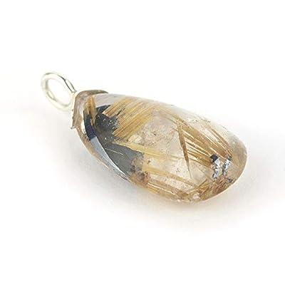 Pendentif de quartz rutile en forme de larme et couleur jaune transparente serti d'argent 925, 23x13x6 mm env.