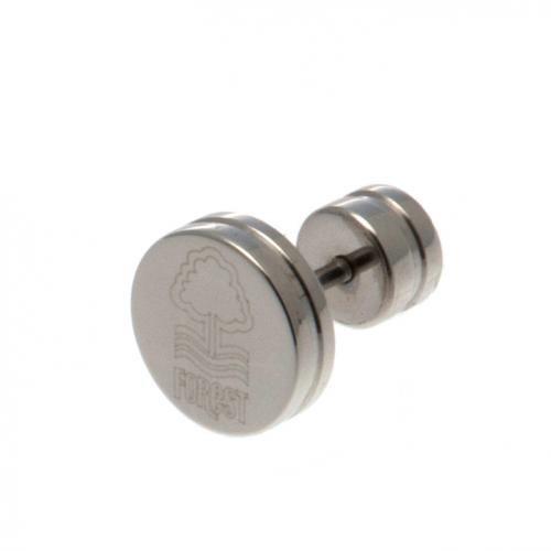 Nottingham Forest F.C.-Orecchino in acciaio inox orecchini ad anello orecchini a perno in acciaio inox, circa 10mm x 10mm in confezione blister funzione leggio prodotto ufficiale
