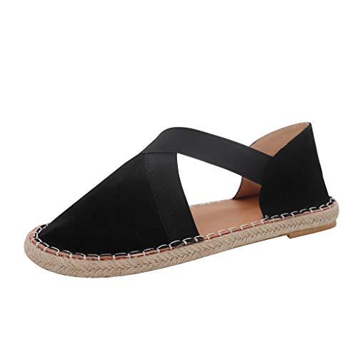 MakefortuneKeil Sandalen Damen Damen Plateau Sommer Closed Toe Vintage Schuhe Flache Bequeme Strand Espadrilles Rosa Gelb Schwarz 4-8 UK