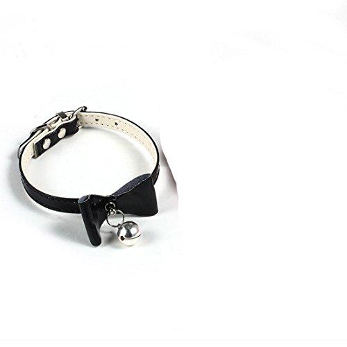 PU Leder Haustier Welpen Hals Bogen Kragen Riemen und Schnallen Glocke einstellbarem Sicherheits bowknot Durable Weiche (Schnalle Bogen)