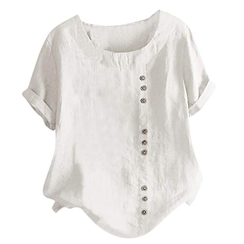 TYTUOO Damen T-Shirt Lässig Lose Taste Leinen Plus Size Basic Täglich Boho Tanic Bluse Tops