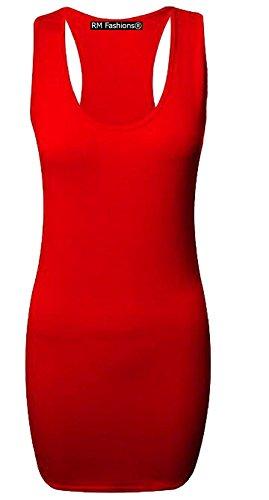 Islander Fashions Femmes Long Racer Retour Muscle Gilet Top Dames Plaine Sans Manches Bodycon Gym Top S/3XL red