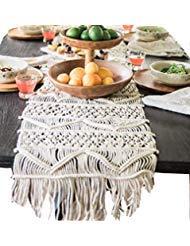 Flber Makramee Tischläufer Boho Hochzeit Décor handgewebte Betten Schal, 35,1x 299,7cm