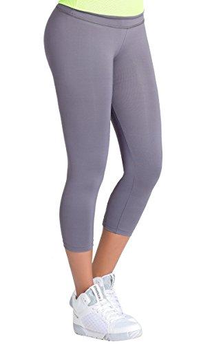 L.O.W.L.A SHAPEWEAR Lowla Columbianische Capri-Leggings für Damen, hohe Taille, Pantalon Deportivo - grau - Mittel