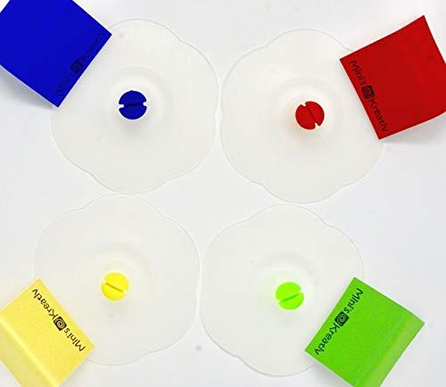 Glas Abdeckung (Silikon Verschluss Deckel 4 Stk versch. Farben | Vakuum Deckel für Trinkgläser + Tassen | Verschluss zum Schutz vor Insekten, Wespen, Sonne | Deckel luftdicht, hygienisch | inkl Namensschilder)