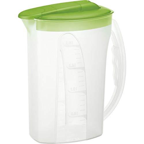 Rotho Kühlschrankkrug 2 L, Kunststoff, transparent/Apple grün 22.5 x 10.5 x 26.5 cm