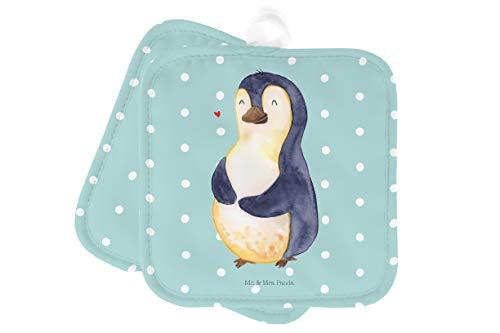 Mr. & Mrs. Panda Topflappen Set, Handschuhe, 2er Set Topflappen Pinguin Diät - Farbe Türkis...