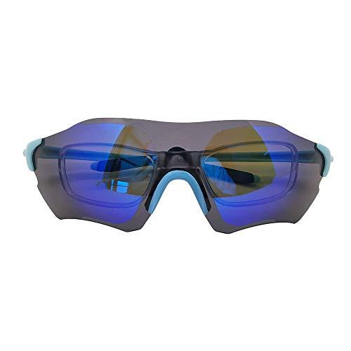 Polarisiert Sonnenbrille Fahrradbrille Motorbrille für Sport Radfahren Autofahren Brillen mit Kurzsichtlinsen (Blau+Schwarz)