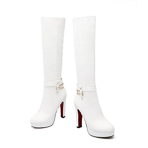 AgooLar Damen Reißverschluss Hoher Absatz PU Rein Mitte-Spitze Stiefel, Weiß, 39