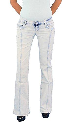 Damen Schlaghose Stretchjeans Hüftjeans Bootcut Schlag Stretch Hüft Jeans  Hose Weiß Blau FG811