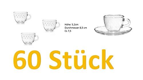 60er Set Espresso-Gläser mit Bohne James Dekor mit Henkel und Unterteller Glas Höhe 5,2cm Durchmesser 8,5 cm CL 7,5