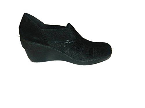 ENVAL SOFT mocassini zeppa scarpe donna camoscio pelle nero 2017 (41)