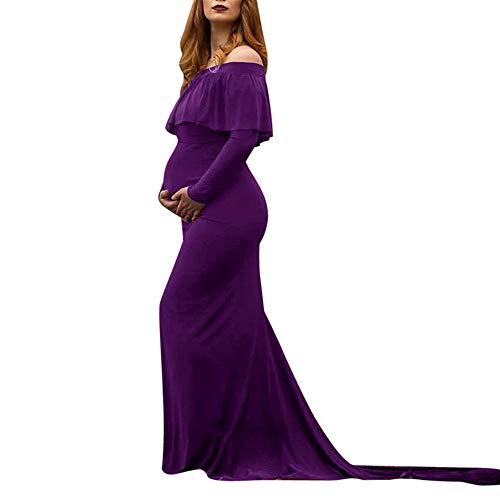(Briskorry Damen Schwangerschaftskleid,Elegantes Frauen Umstandskleid Mutterschaft Fotografie Kleid Off Schultern Krankenpflege Kleid Sommer Maxi Kleider)
