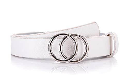 irisaa Schmaler Damen Gürtel mit runder Metallschnalle zwei Ringen, 2,8 cm breit und 0,4 cm stark, Farbe:weiß, Länge:80