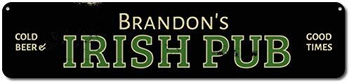 Dekoratives Schild mit Aufschrift Irish Pub Cold Beer & Good Times, personalisierbar, Bar-Bar-Besitzer, Namenschild für Pub, Dekoration, für Zuhause, Tür, Wanddekoration, Blechschild (Metall-buchstaben-wand-dekor)