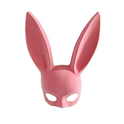 CGBF-Halloween Maske Beflockung Kaninchen Ohr Maske Prom Bunny Girl Maske Bar Ktv Party Halbe Gesichtsmaske Lange Ohren Cosplay Interessante und Sexy Maske Kostüm Requisiten,Rosa (Monster Girl Sexy Kostüm)