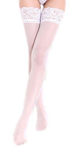 Femme Lingerie Sexy Bas Autofixants Bas pour porte-jarretelles (Taille Unique, Blanc)