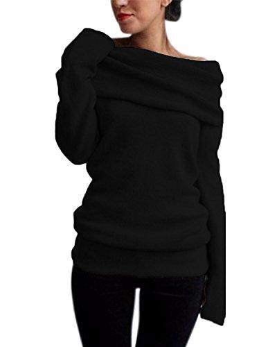 ZANZEA Femme Sexy Pull Tricot Epaule Nue Manches Longues Slim Jumpers Sweater Hauts Sweatshirt (EU 44/ US 12 UK 16, Noir)