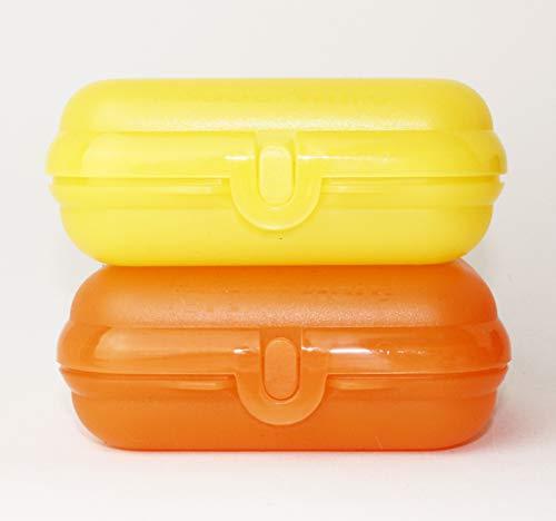 Tupperware Twin Brotdosen Lunchbox Snackbox 2X Gr.2 Gelb + Orange