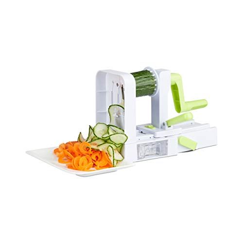 Relaxdays 10024690 Gemüse Spiralschneider faltbar, 5 Edelstahl Klingen, mit Kurbel, Gemüseschneider, Gemüsespaghetti, weiß/grün