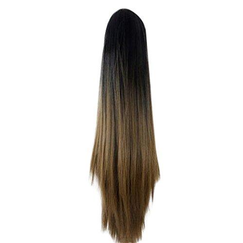 Luckhome Pferdeschwanz haarteil Clip in Extensions glatt Ponytail günstig haarverlängerung Damenmode klaue Lange gerade perücke perrücke perücken Wig Haare (Günstige Rapunzel Kostüm)