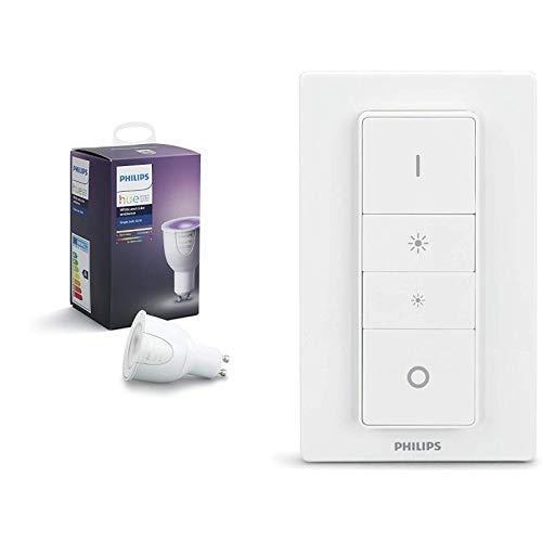 Philips Wireless Dimming Schalter, komfortabel dimmen ohne Installation + White & Color Ambiance GU10 LED Lampe Erweiterung, dimmbar,steuerbar via App, kompatibel mit Amazon Alexa (Echo, Echo Dot)