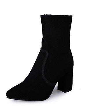 Rtry Femmes Chaussures Pu Hiver Confort Mode Bottes Bottes Chunky Talon Bout Rond Pour Casual Noir Noir Us7.5 / Eu38 / Uk5.5 / Cn38 Us8 / Eu39 / Uk6 / Cn39