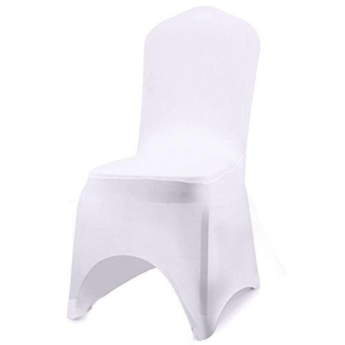 Acelectronic Stuhl Husse, 10 Stück Universell Stuhlhussen Stretchy Stuhlbezug Stuhlüberzug der Haus Hochzeit Dekoration, Arc-Shaped (Weiß)