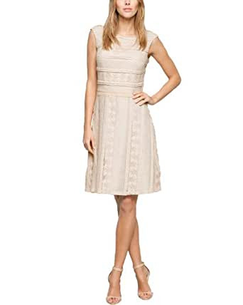 Comma Damen Cocktail Kleid 89.404.82.4755, Mini, Einfarbig, Gr. 40, Beige (powder)