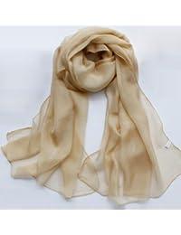 Pure beige Ladies Chiffon Silk Shawl Scarves, 200 * 65 cm