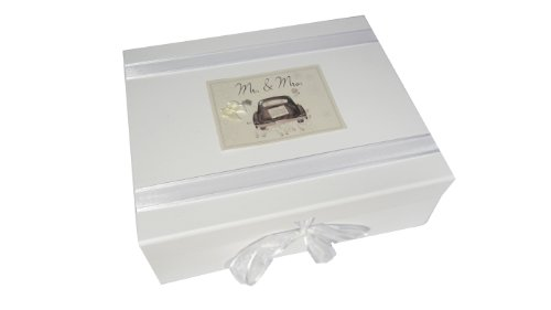 White Cotton Cards Memobox MR und Mrs Auto Range