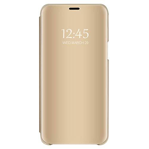 Bakicey Hülle kompatibel mit Galaxy S7 S7 Edge Spiegel Schutzhülle Flip Handy Tasche mit Standfunktion Business Serie Hart Case Cover für Galaxy S7 / Galaxy S7 Edge (Galaxy S7, Gold) Flip Handys