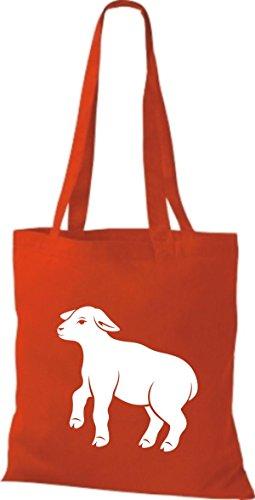 Shirtstown Stoffbeutel Tiere Schäfchen, Schaf Rot