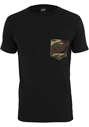 Urban Classics Herren T-Shirt Rundhals black/camouflage L (Camouflage Urban T-shirt)